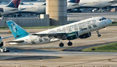 A Frontier Airways jet taking off