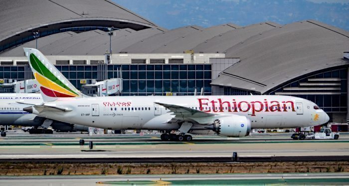 An Ethiopian Airlines 787-8 Dreamliner at Los Angeles International Airport.