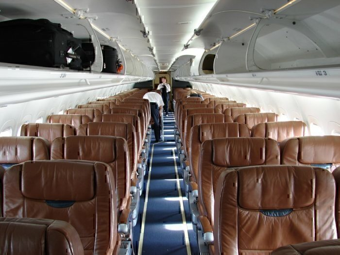 The interior of a Midwest Express Airlines Boeing 717