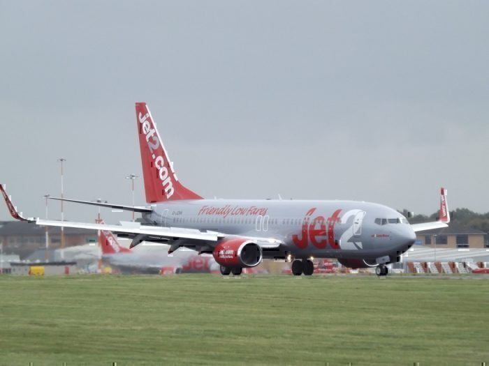 A Jet2 Boeing 737-85P on the runway at East Midlands Airport