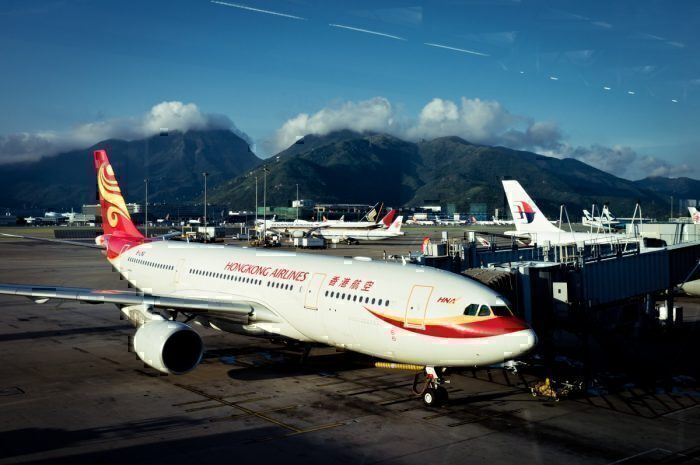 A Hong Kong Airlines jet on the runway in Hong Kong