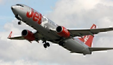 A Jet2 737-800 during takeoff