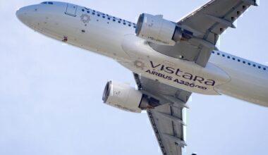 Vistara A320neo taking off