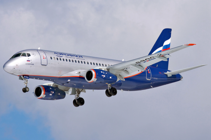 A Sukhoi Superjet-100 in flight