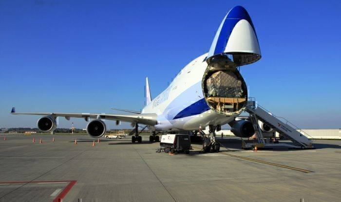 A freight modified Boeing 747 being loaded