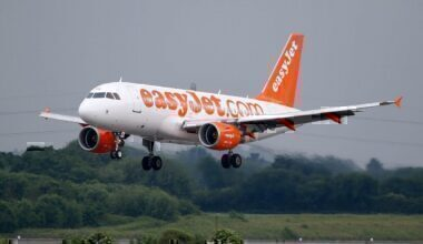 An easyJet A319-111 during takeoff