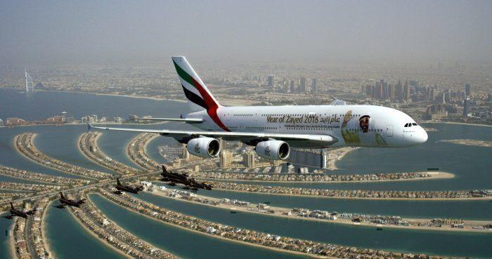 Emirates flight over Dubai