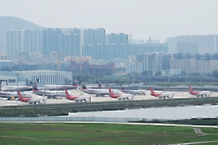 Grounded 737 MAX at Shenzen Bao'an International Airport