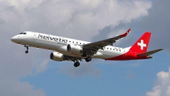 Helvetic Embraer E190 midflight