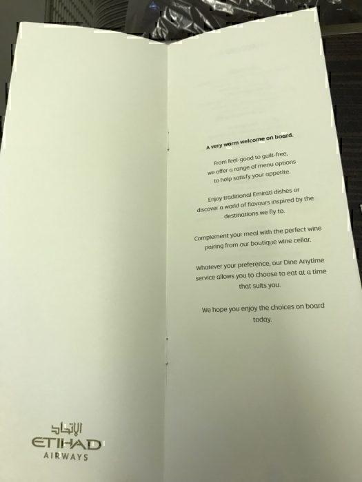 Etihad menu