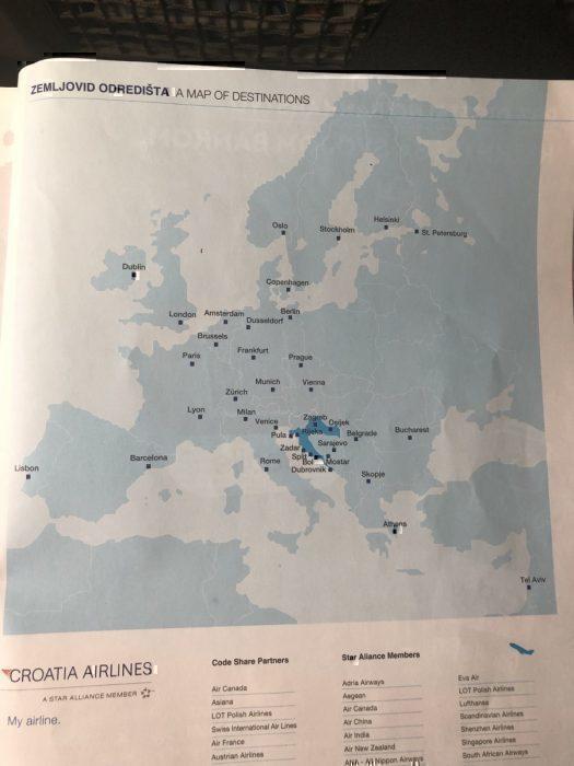 Croatia Airlines destinations map