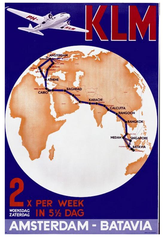 KLM route to Batavia