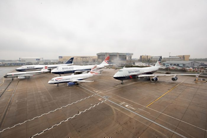 British Airways Aircraft in the 100 year heritage liveries