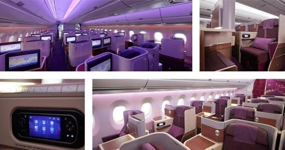 Business Class cabin on the Thai Airways Airbus A350-941
