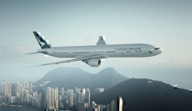 Cathay airliner in flight