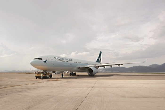 Cathay airline on taxiway