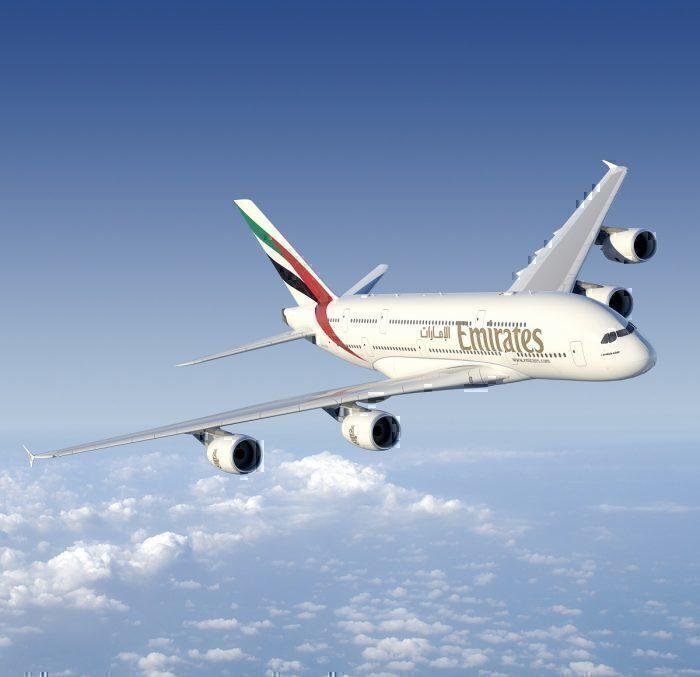 Emirates airline in flight