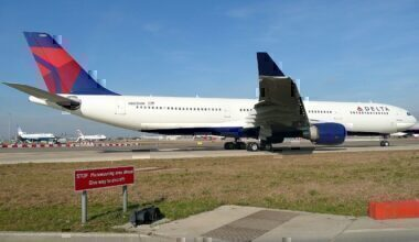 Delta Airlines A330 on taxiway