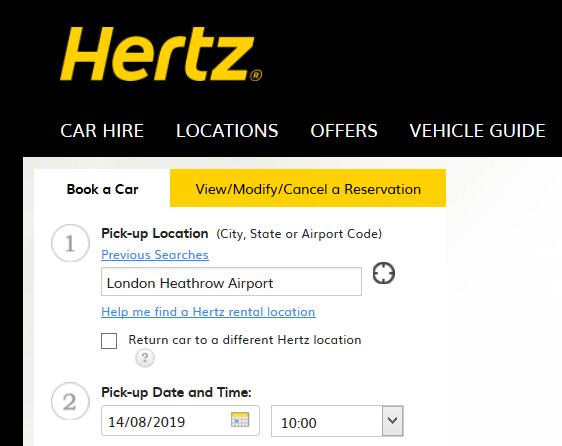 Hertz booking