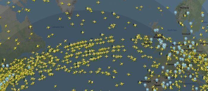 Screenshot of flights across the North Atlantic