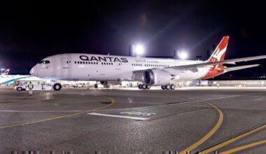 Qantas B787-9 on taxiway at night