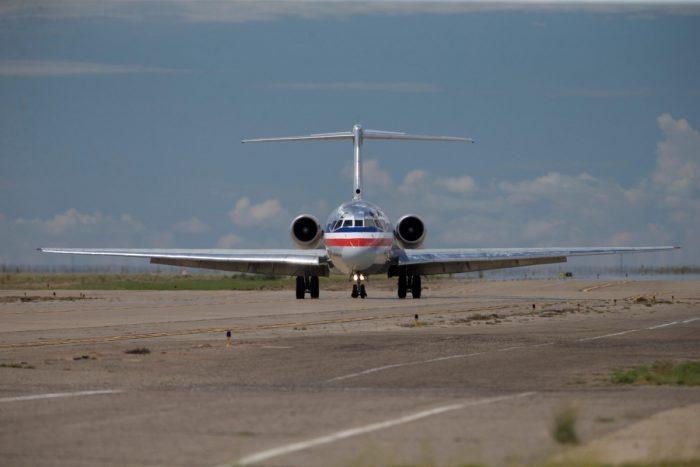 AA MD-80 at runway