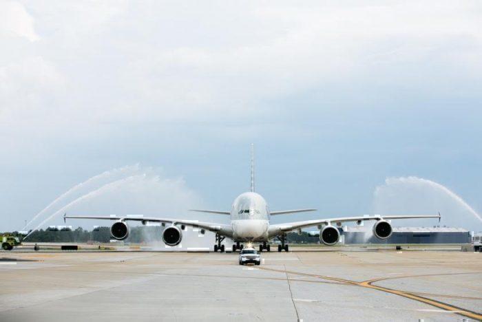 Qatar A380 in Atlanta