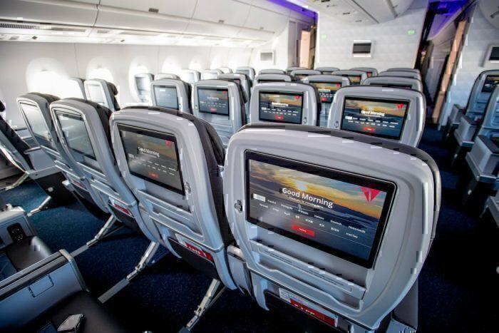 Delta A350 economy screen