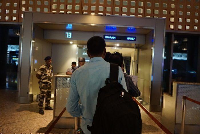 Boarding the plane in Mumbai