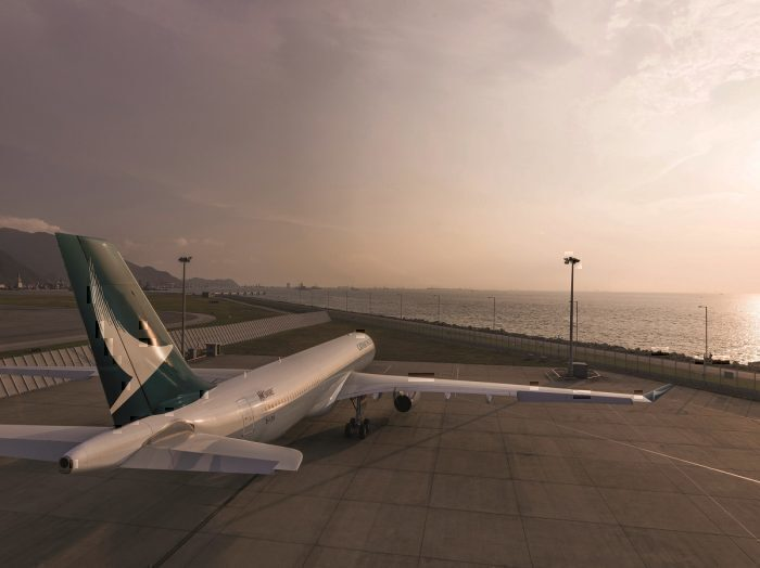 Cathay jet on taxiway