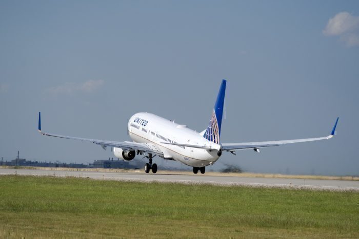 United Plane Taking Off