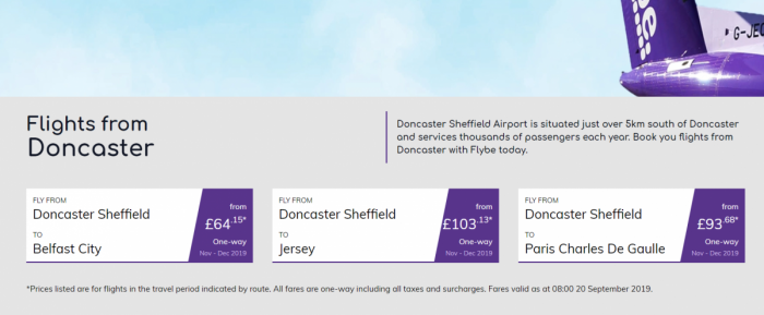 Flybe Departs From Doncaster Sheffield Airport