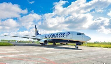 Ryanair jet on taxiway