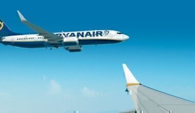 Ryanair jet in flight