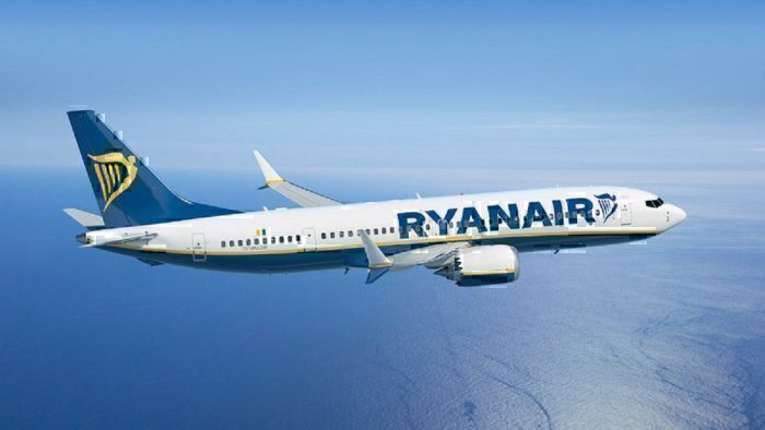 Ryanair jet in flight