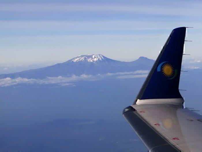 View of Mount Kilimanjaro from Window of RwandAir Jet - Tanzania