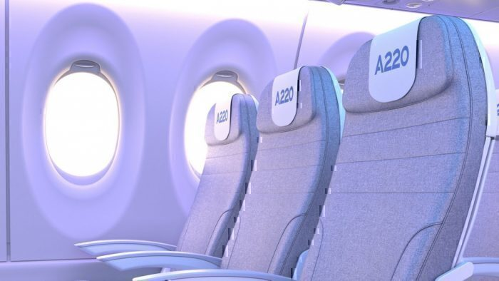 Internal image of the Airbus A220 showing larger windows and LED lighting