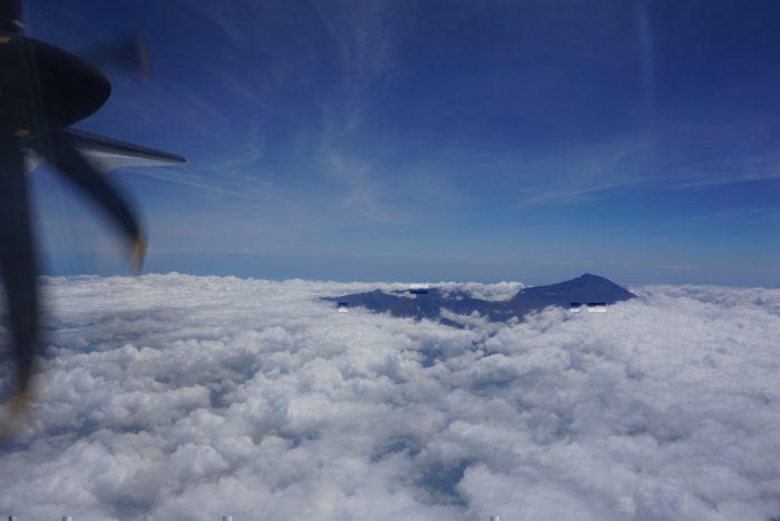 Volcano, through clouds