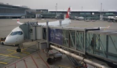 Swiss A220, Zurich flight, Parked A220