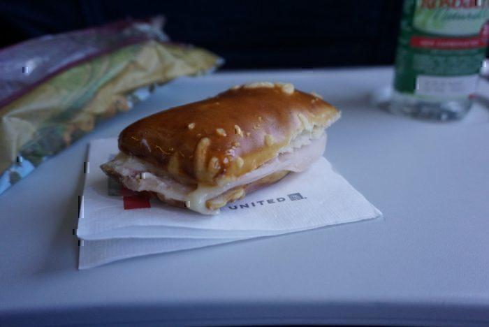 midflight snack, turkey sandwhich