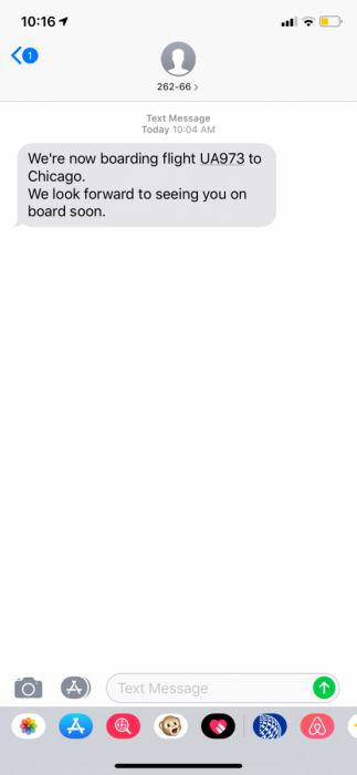 boarding notification, text message