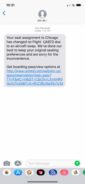 text notification, new plane
