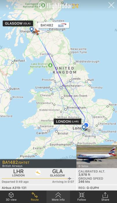 ba flight to glasgow london