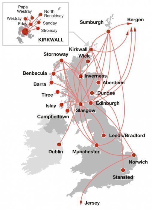 Loganair routemap