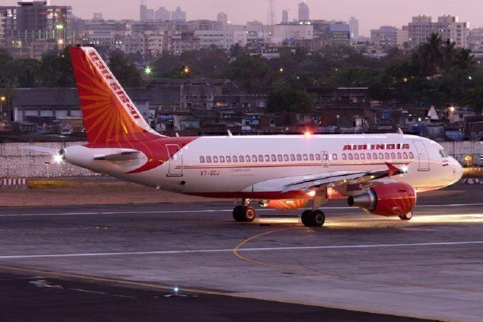 Air India on taxiway at dusk
