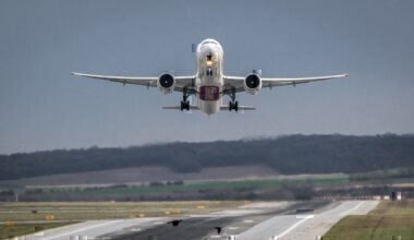 Emirates airliner taking off