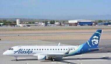 Alaska Air jet on taxiway