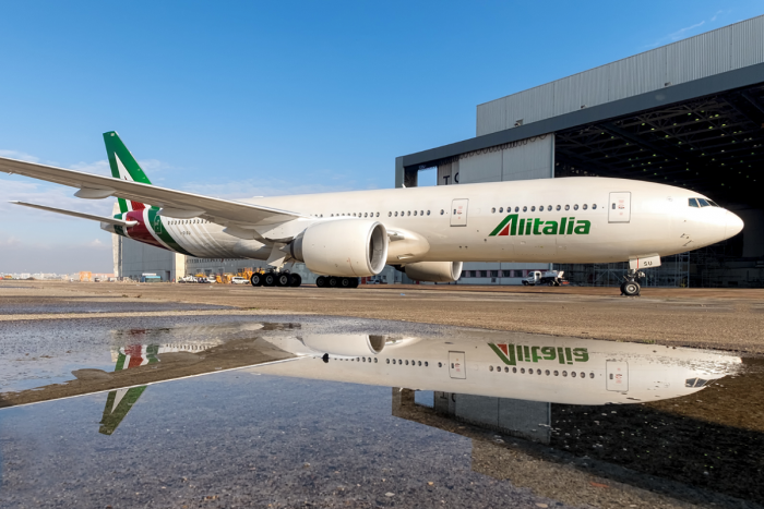 Alitalia jet on taxiway