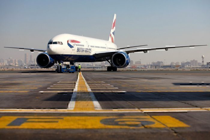 British Airways B777 on runway