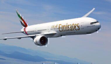Emirates B777 in flight